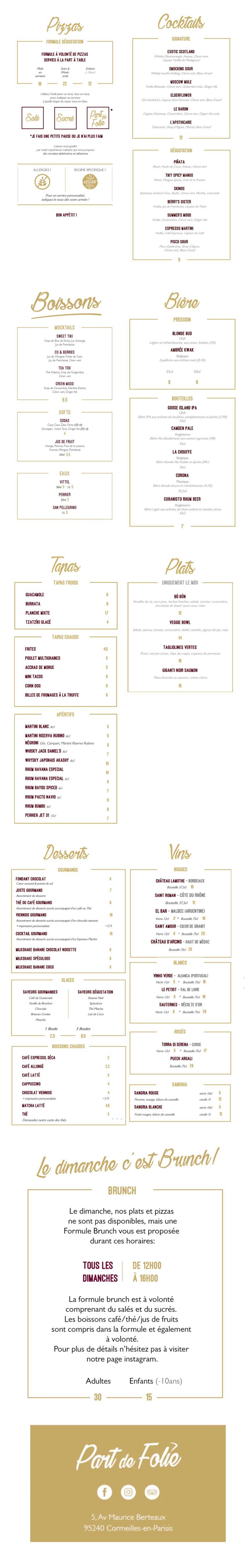 carte menu digitalisé Au Pavillon